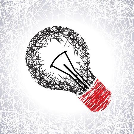 energy efficient light bulb: pencil work on light bulb