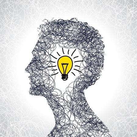 인간의 머리로 아이디어 개념 일러스트