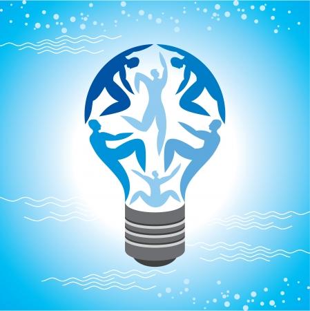 participacion: La bombilla de luz para el trabajo y concepto de negocio en el cielo azul de fondo