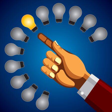 incandescent: person holding colorful bright incandescent light bulb Illustration