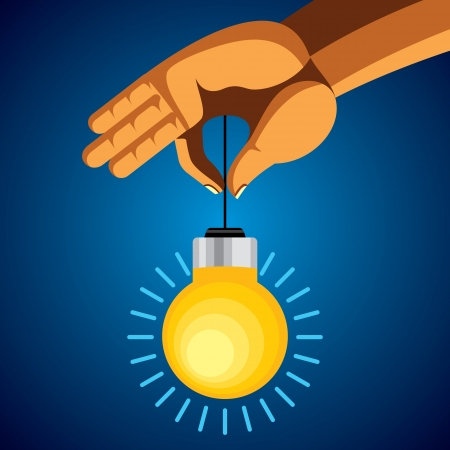 person holding colorful bright incandescent light bulb Stock Vector - 17725578
