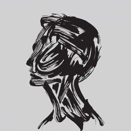 directly: human head thinking  making from brush stocks Illustration