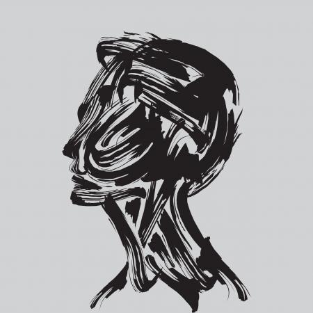 pensamiento cabeza humana haciendo de las existencias de pincel Ilustración de vector