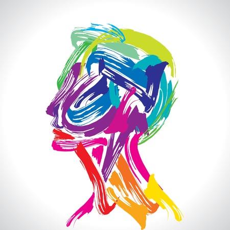 Pensamiento cabeza humana haciendo de las existencias de pincel Foto de archivo - 17725387