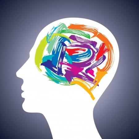 pensamiento cabeza humana haciendo de las existencias de pincel