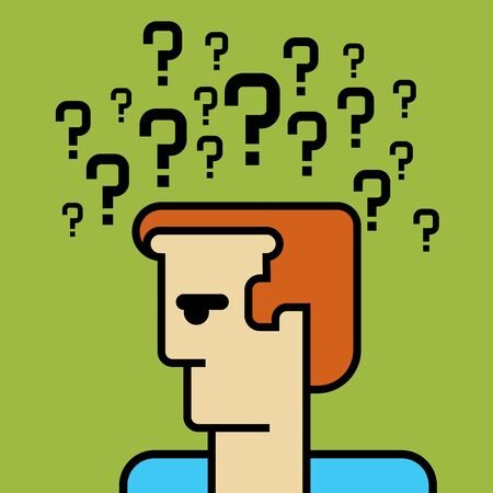 human head with question mark symbol Stock Vector - 17725524