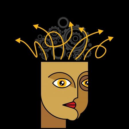 preferencia: Los pensamientos y las opciones - ilustraci�n de la cabeza con las flechas Vectores