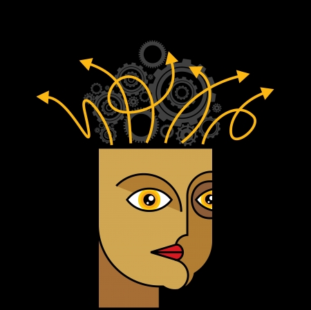 enigma: Thoughts and options - illustration of head with arrows