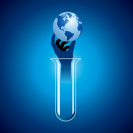 pharmaceuticals: save earth concept with science Illustration