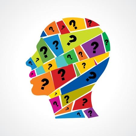 punto interrogativo: Uomo che pensa domanda che molti Vettoriali