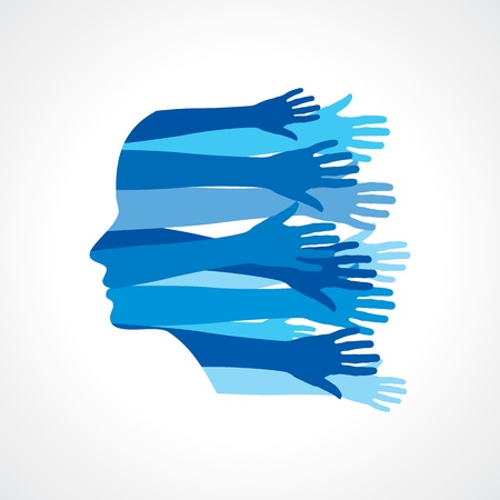 palm of hand: Head with Caring hands, abstract illustration