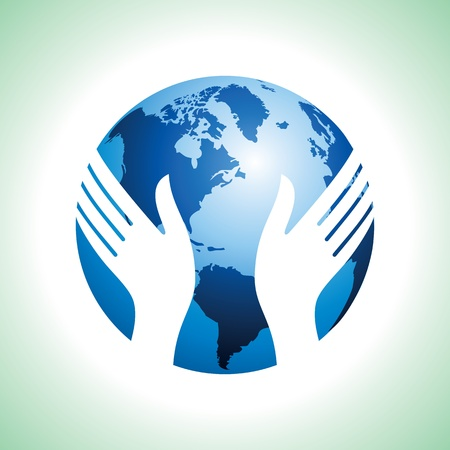 globe hand: hand hold the globe Illustration