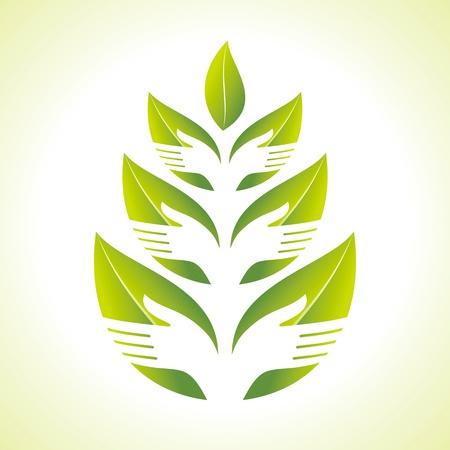 Mano y silueta Leaf Ilustración de vector