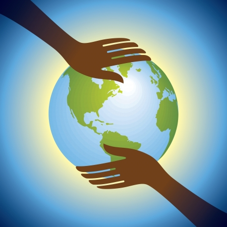 hands hold globe Vector