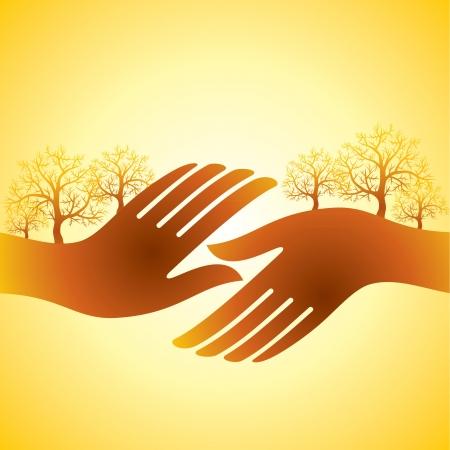 handen te schudden met boom