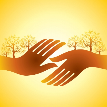 hands shake with tree Vector