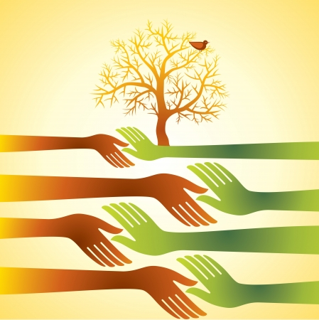 yearn: group of hands with tree Illustration