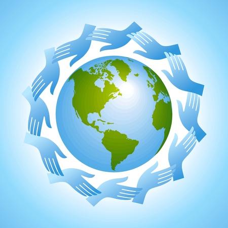 mundo manos: grupo de manos con globo Vectores