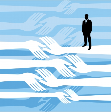 yearn: Diverse people hands reach out across a division gap to unite connect help Illustration