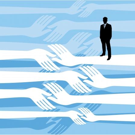 unite: Diverse people hands reach out across a division gap to unite connect help Illustration