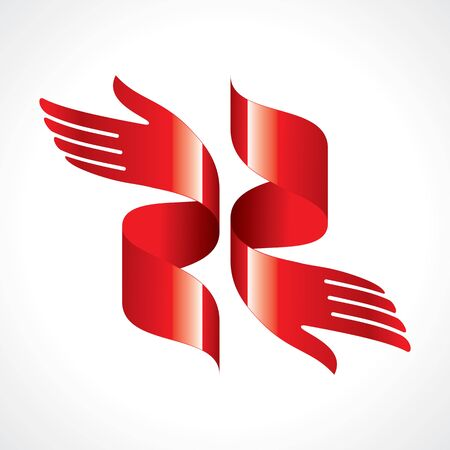 reversible: red ribbon in shape of hand Illustration