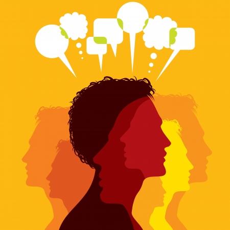 dos personas hablando: Grupo de personas de negocios colorido red y comunicarse en las burbujas del discurso