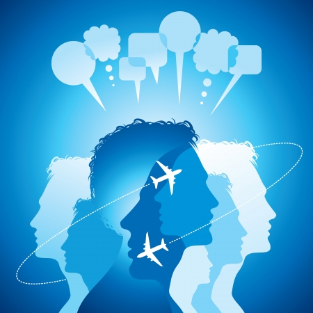 Group of business people network and communicate in speech bubbles  Vector
