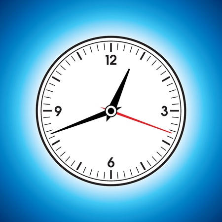 Large white wall clock on a blue background Vector
