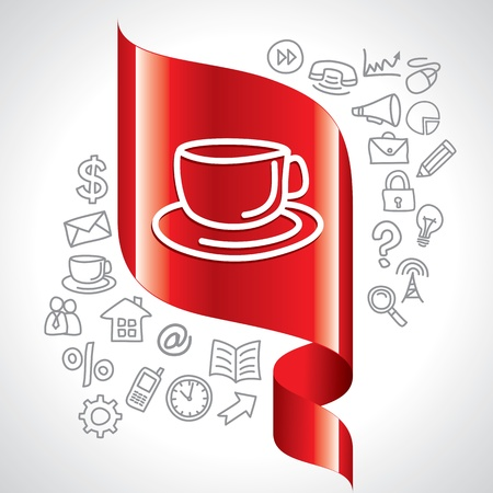 navigation icons and tea cup Vector