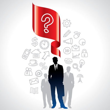 cut away: navigation icons and businessman with question mark