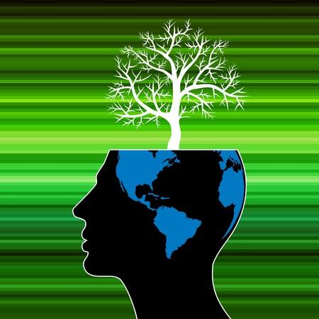 understanding: human head growing in the shape of tree Stock Photo