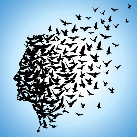 flying man: flying birds to human head Stock Photo