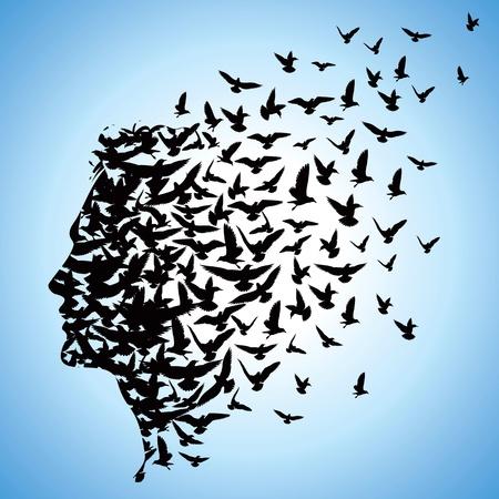 vliegende vogels op menselijk hoofd