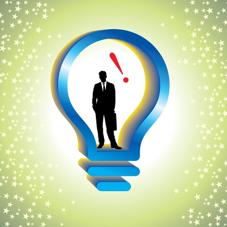 Modern human man inside a high-tech light bulb, smart businessman info graphic concept, photo