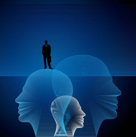 mind power: vector head with line pattern Stock Photo