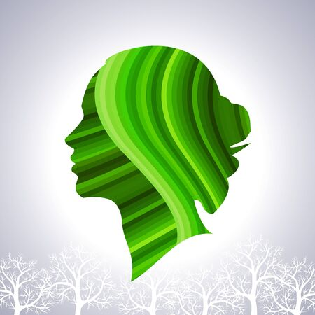 greenery: save greenery concept with woman head Stock Photo