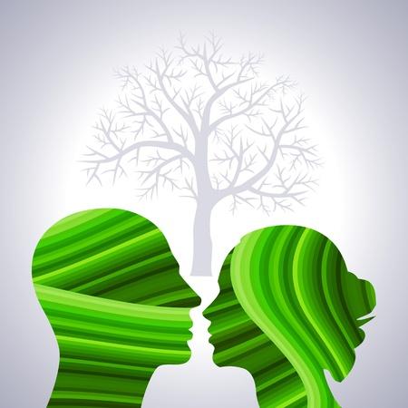perfil de mujer rostro: guardar concepto verde con cabezas humanas
