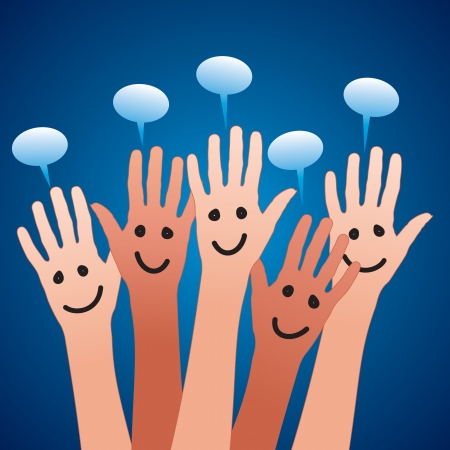 voting hands: happy hands and speech bubbles Stock Photo