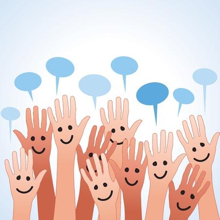 grappige gekleurde vingers met tekstballon Stockfoto