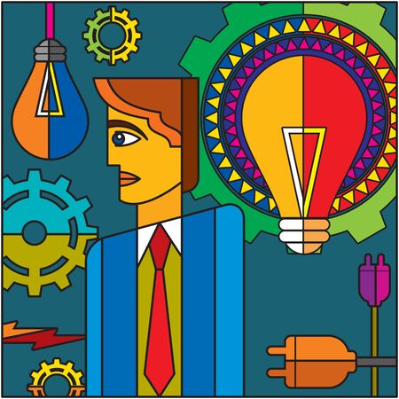 enlightenment: set of gears and bulb and businessman Stock Photo