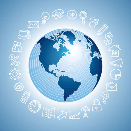 navigation icon with globe Stock Photo - 17699927