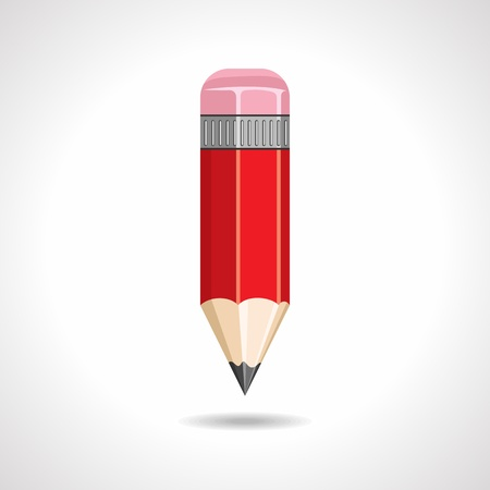 red pencil with eraser on white background photo