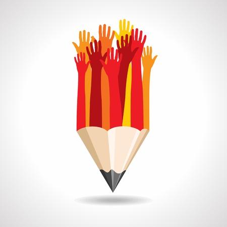 school computer: pencil with hands  education concept