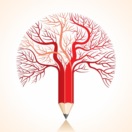 correction: pencil with tree concept Stock Photo