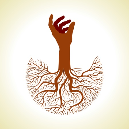 tree roots: Isolated diversity tree hands illustration Stock Photo