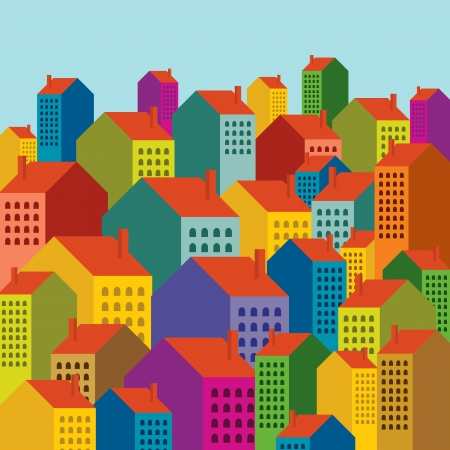 city scape: Vector of colorful city skyline Illustration