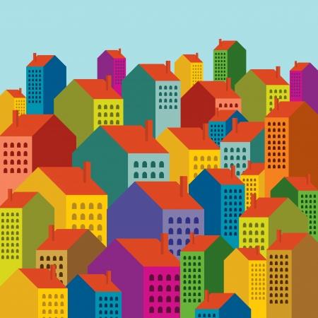 Vector van kleurrijke skyline van de stad