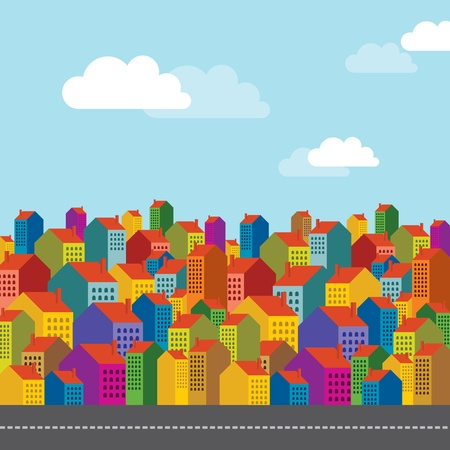 residential neighborhood: Vector of colorful city skyline Illustration