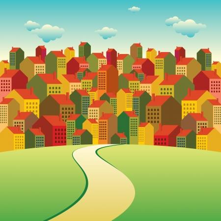 clouds scape: colorful city landscape Illustration