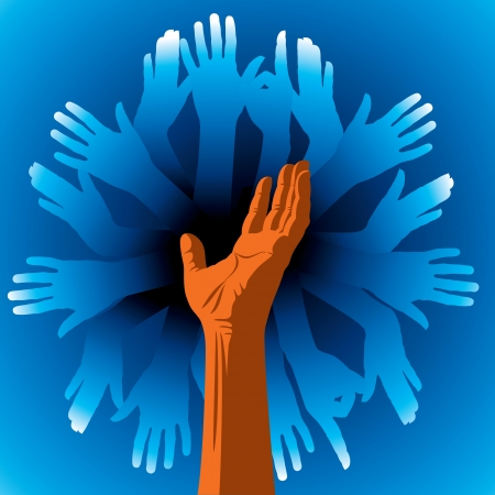 yearn: group of human hands Illustration